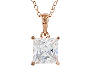 White Cubic Zirconia 18K Rose Gold Over Sterling Silver Pendant With Chain 2.70ctw