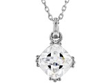 White Cubic Zirconia Rhodium Over Sterling Silver Pendant With Chain 2.58ctw