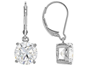 White Cubic Zirconia Rhodium Over Sterling Silver Earrings 7.07ctw