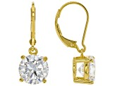 White Cubic Zirconia 18K Yellow Gold Over Sterling Silver Earrings 7.07ctw