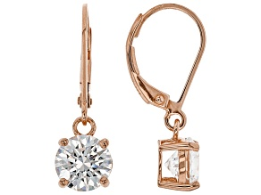 White Cubic Zirconia 18K Rose Gold Over Sterling Silver Earrings 4.37ctw