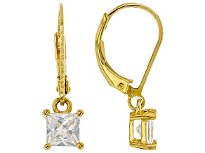 White Cubic Zirconia 18K Yellow Gold Over Sterling Silver Earrings 1.53ctw
