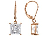White Cubic Zirconia 18K Rose Gold Over Sterling Silver Earrings 7.02ctw