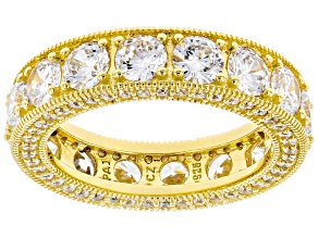 White Cubic Zirconia 18k Yellow Gold Over Sterling Silver Eternity Band Ring 8.73ctw