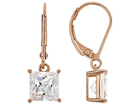 White Cubic Zirconia 18K Rose Gold Over Sterling Silver Earrings 4.24ctw