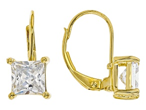 White Cubic Zirconia 18K Yellow Gold Over Sterling Silver Earrings 2.79ctw