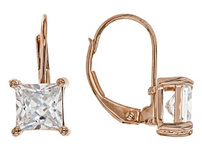 White Cubic Zirconia 18K Rose Gold Over Sterling Silver Earrings 2.79ctw