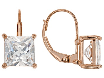 Picture of White Cubic Zirconia 18K Rose Gold Over Sterling Silver Earrings 5.40ctw