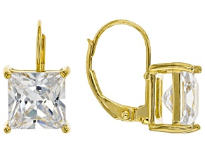 White Cubic Zirconia 18K Yellow Gold Over Sterling Silver Earrings 7.47ctw