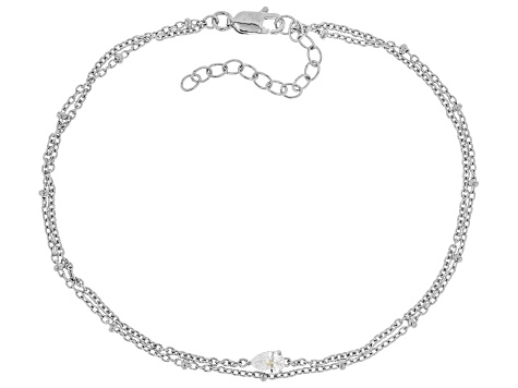 White Cubic Zirconia Rhodium Over Sterling Silver Bracelet 0.60ctw