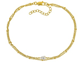 White Cubic Zirconia 18K Yellow Gold Over Sterling Silver Bracelet 0.60ctw