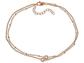White Cubic Zirconia 18K Rose Gold Over Sterling Silver Bracelet 0.34ctw