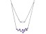 Purple Cubic Zirconia And Clear Cubic Zirconia Bead Rhodium Over Sterling Silver Necklace 3.30ctw