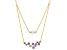 Purple Cubic Zirconia And Clear Cubic Zirconia Bead 18K Yellow Gold Over Silver Necklace 3.30ctw