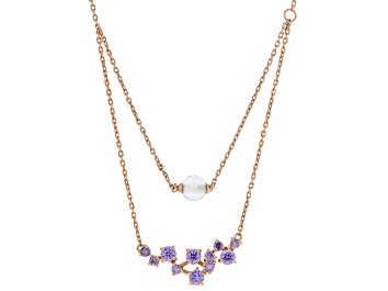 Picture of Purple Cubic Zirconia And Clear Cubic Zirconia Bead 18K Rose Gold Over Silver Necklace 3.30ctw