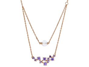 Purple Cubic Zirconia And Clear Cubic Zirconia Bead 18K Rose Gold Over Silver Necklace 3.30ctw