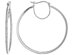 White Cubic Zirconia Rhodium Over Sterling Silver Inside Out Hoop Earrings 2.86ctw