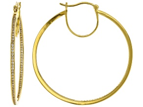 White Cubic Zirconia 18K Yellow Gold Over Sterling Silver Inside Out Hoop Earrings 2.86ctw