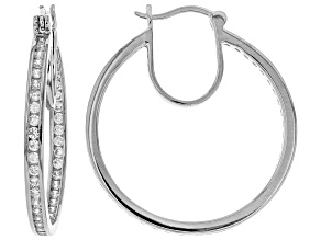White Cubic Zirconia Rhodium Over Sterling Silver Inside Out Hoop Earrings 3.64ctw