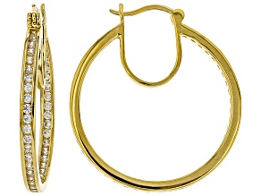 White Cubic Zirconia 18K Yellow Gold Over Sterling Silver Inside Out Hoop Earrings 3.64ctw