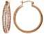 White Cubic Zirconia 18K Rose Gold Over Sterling Silver Inside Out Hoop Earrings 5.61ctw