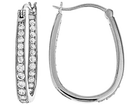 White Cubic Zirconia Rhodium Over Sterling Silver Inside Out Hoop Earrings 2.66ctw