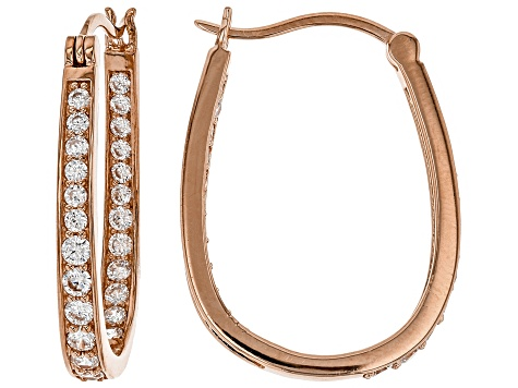 White Cubic Zirconia 18K Rose Gold Over Sterling Silver Inside Out Hoop Earrings 2.66ctw