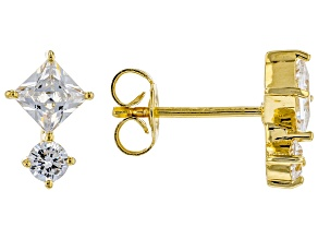 White Cubic Zirconia 18K Yellow Gold Over Sterling Silver Earrings 1.35ctw