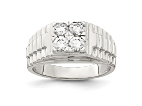 White Cubic Zirconia Rhodium Over Sterling Silver Mens Ring