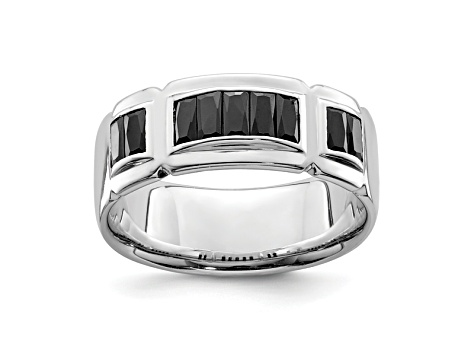 Black Cubic Zirconia Rhodium Over Sterling Silver Mens Band Ring