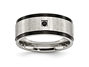 Black Cubic Zirconia Stainless Steel Mens Band Ring