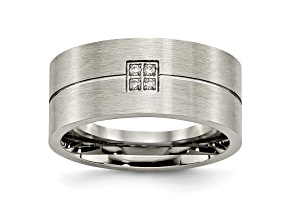 White Cubic Zirconia Stainless Steel Mens Band Ring
