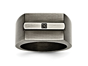 Black Cubic Zirconia Stainless Steel Mens Ring