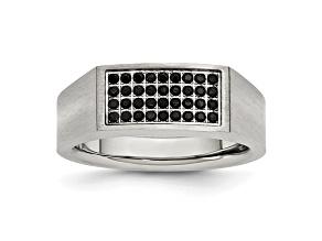 Black Cubic Zirconia Stainless Steel Mens Ring