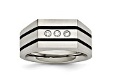 White Cubic Zirconia Two-Tone Brushed Stainless Steel Mens Ring