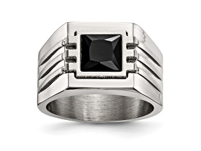 Black Cubic Zirconia Brushed Stainless Steel Mens Ring