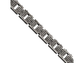 White Cubic Zirconia Brushed Stainless Steel Mens Bracelet