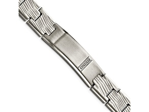 White Cubic Zirconia Polished Stainless Steel Mens Bracelet