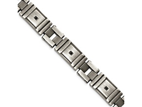 Black Cubic Zirconia Brushed Stainless Steel Mens Bracelet