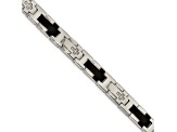 White Cubic Zirconia Two-Tone Polished Stainless Steel Mens Cross Bracelet