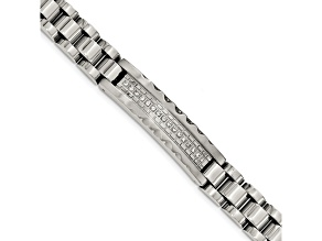 White Cubic Zirconia Polished And Brushed Stainless Steel Mens Bracelet
