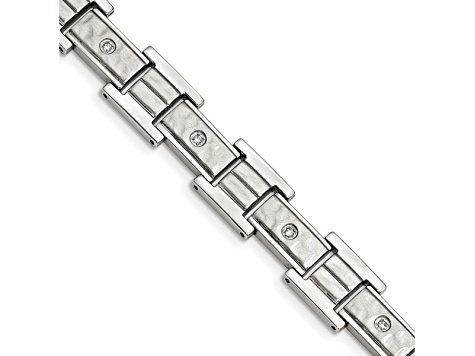 White Cubic Zirconia Polished And Hammered Stainless Steel Mens Bracelet