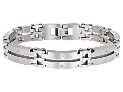 White Cubic Zirconia Brushed And Polished Stainless Steel Mens Bracelet