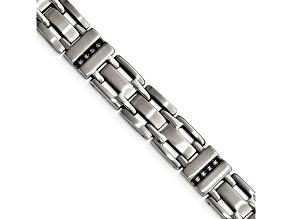 Black Cubic Zirconia Brushed Stainless Steel Mens Bracelet