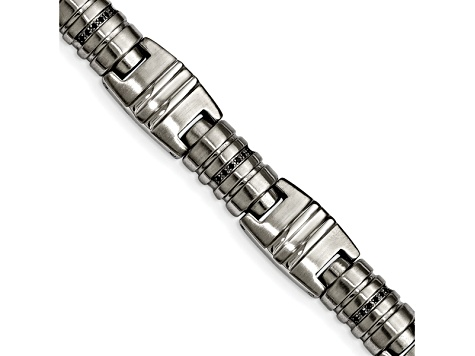 Black Cubic Zirconia Polished Stainless Steel Mens Bracelet