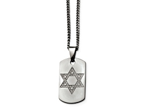 White Cubic Zirconia Stainless Steel Mens Star Of David Dog Tag Pendant With Chain