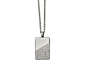 White Cubic Zirconia Polished Stainless Steel Mens Dog Tag Pendant With Chain