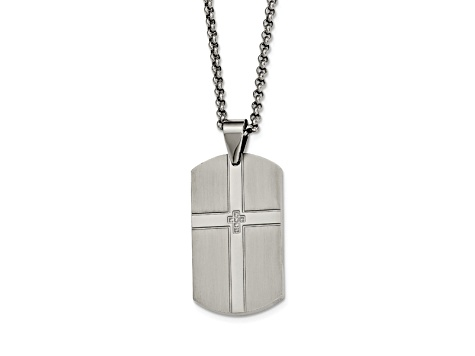 White Cubic Zirconia Polished Stainless Steel Mens Cross Dog Tag Pendant With Chain