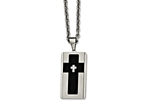 White Cubic Zirconia Two-Tone Stainless Steel Mens Cross Pendant With Chain