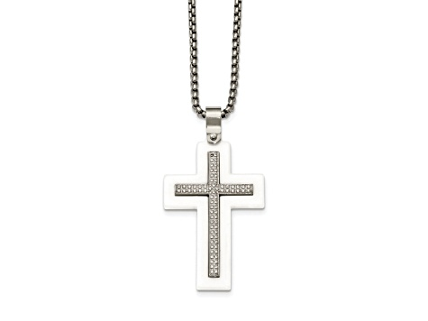 White Cubic Zirconia Stainless Steel Polished White Mens Ceramic Cross Pendant With Chain